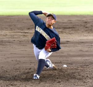 岩手大相手に7回参考ながら無安打無得点試合を達成した八戸学院大・大道(カメラ・有吉 広紀)
