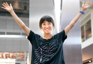 セイコーGGPでの日本新記録から一夜明け、笑顔を見せる田中希実