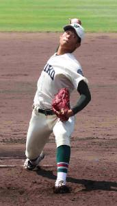 市和歌山の小園健太は2回1/3を無安打無失点に抑えた