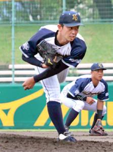 先発した日本新薬・榎田宏樹は8回6安打7奪三振無失点