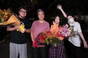 (左から)福田雄一監督、ムロツヨシ、小野花梨、永野芽郁(C)日本テレビ