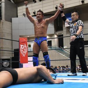 6日の幕張大会では上村優也をナガタロックで下した永田裕志(新日本プロレス提供)