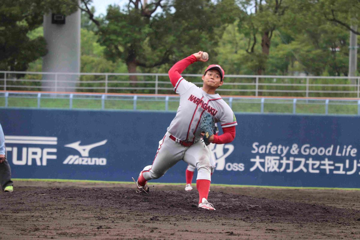 奈良学園大の大畑理暉は4回途中から登板し、1失点と好救援した