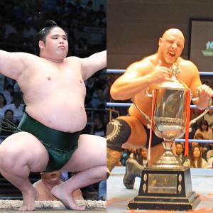元貴ノ富士のスダリオ剛(左)とディラン・ジェイムスが対戦