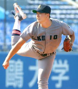 最速155キロの速球が武器の慶大・木沢