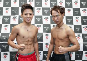 前日計量をクリアし、闘志を見せる森且貴(左)と内田勇気(大橋ジム提供