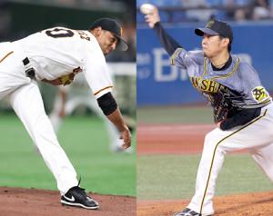 巨人・サンチェス(左)と阪神・西勇輝