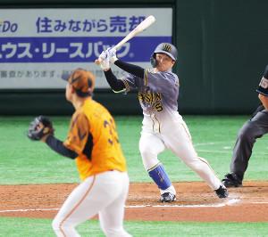 6回無死、近本が右中間へこの日2本目の本塁打となる7号ソロを放つ(投手・桜井=カメラ・竜田 卓)