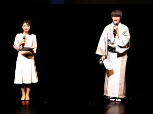 オープニングイベントであいさつする声優の八代拓とMBSアナウンサーの野嶋紗己子