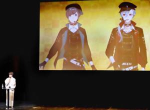 初共演した声優の八代拓(左)とVTuberプロジェクト「にじさんじ」のユニット「ChroNoiR」の叶(中)と葛葉