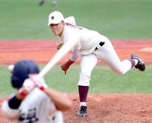 17奪三振の力投で完投勝利を挙げた早大・早川(カメラ・佐々木 清勝)