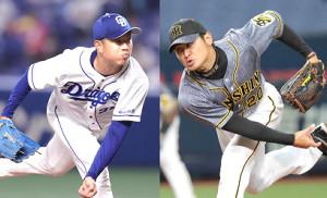 中日・松葉(左)と阪神・中田