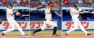 初回に先頭打者から3者連続本塁打を記録した(左から)1番浜田、2番青木、3番山田哲(カメラ・頓所 美代子)