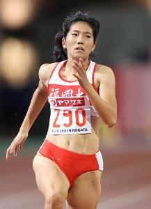 女子100メートル準決勝、2組1着で決勝進出を決めた児玉芽生