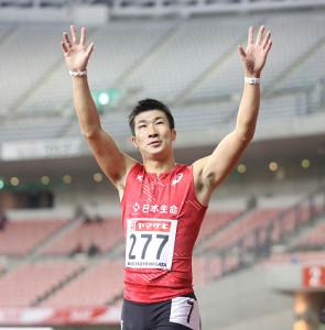 10秒27で優勝した桐生祥秀(カメラ・相川 和寛)