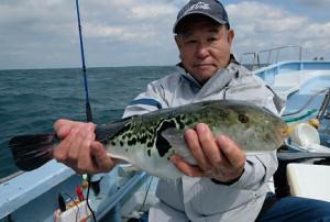 松栄丸で1、5キロのトラフグを釣り上げた大津邦晴さん (カメラ・越川 亘)