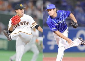 巨人・田口麗斗(左)とDeNA・平田真吾