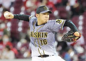 8回4安打1失点で9勝目を挙げた阪神・西勇