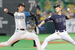 日本ハム・杉浦稔大(左)とオリックス・田嶋大樹