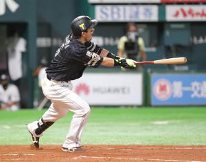 4回、9号ソロで通算3000塁打を達成したソフトバンク・松田宣