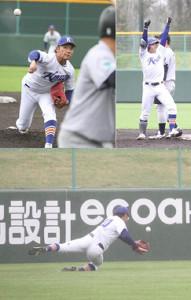 学生ラスト試合に臨んだ苫小牧駒大・伊藤【左上】投げては5回2失点【右上】二塁打を放ちガッツポーズ【下】左翼につき打球にダイブ