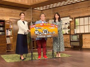 取材会に登場した(左から)福田典子アナ、武田鉄矢、須黒清華アナ
