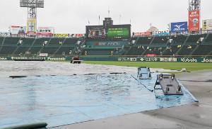 グラウンドにシートがかけられ、結局、中止が決まった甲子園球場の阪神対ヤクルト戦