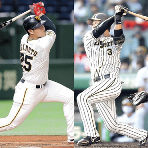 本塁打を争う岡本と大山(右)
