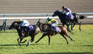 外から突き抜けたデアリングタクト(左)が無敗で牝馬3冠を達成