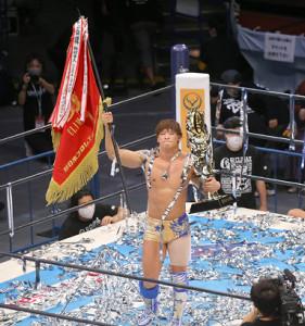 SANADAを下して昨年に続きG1クライマックスV2を果たした飯伏幸太(カメラ・泉 貫太)