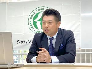 リモートで記者会見を行った選手会副会長の池田勇太(JGTO提供)