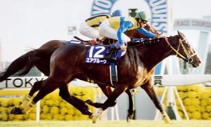 エアグルーヴ(手前)がバブルガムフェローを退け、首差で制した97年の天皇賞・秋