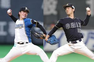 日本ハム・吉田輝(左)とオリックス・田嶋