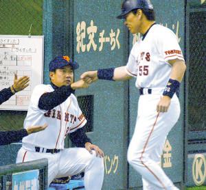 原辰徳監督と松井秀喜(2002年)