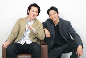 ドラマ「上意討ち」で初共演した尾上松也(左)と永山絢斗(カメラ・渡辺 了文)