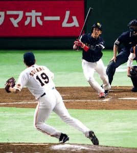17年6月13日、菅野〈19〉と対戦して二ゴロに打ち取られた代打・栗原