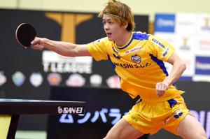 第2試合で初勝利を挙げた岡山・田添響(Tリーグ提供)