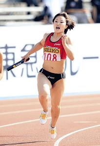 11年セイコーGGP川崎で女子400メートルリレーの第1走者として日本新を樹立