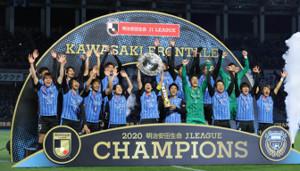最速優勝を果たし歓喜する川崎の選手たち