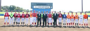 10月2日に行われた公開練習に参加した来春入社予定の選手たち(茨城日産提供)