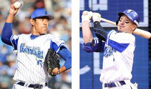 国内FA権の行使を表明したDeNA・井納翔一投手(左)と梶谷隆幸外野手