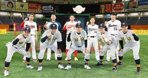 「リアル野球BAN」で対決した侍オールスター(上列)とチーム帝京のメンバー(テレビ朝日提供)