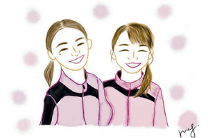 対談した東姉妹(左・莉央、右・晟良)のデジタルアート(イラスト・栗原恵)