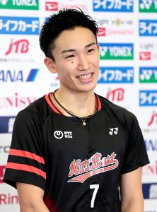 桃田賢斗(代表撮影)