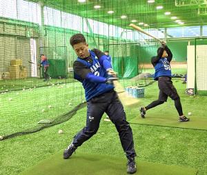 室内練習場で行われた新人合同自主トレでティー打撃をするDeNAドラフト2位・牧秀悟内野手