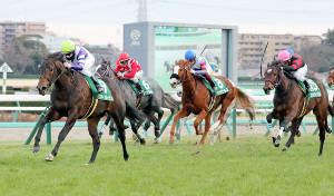 ファインルージュ(左)はホウオウイクセル(右)以下に2馬身半差をつける堂々の勝ちっぷり