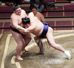 王鵬は常幸龍(右)に押し出しで敗れる