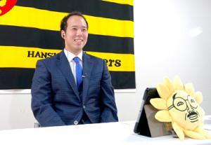 サンテレビ「熱血!タイガース党」にオンラインで出演した阪神・青柳晃洋(球団提供)