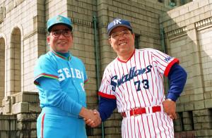 92年の日本シリーズ第1戦を翌日にひかえた西武・森祇晶監督(左)とヤクルト・野村克也監督(右)