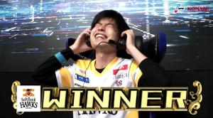 優勝決定の瞬間、感極まるソフトバンクの大上